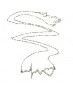 Collana con elettrocardiogramma e cuore di zirconi in argento 925