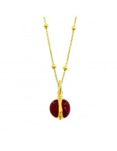 Collana a sfere alternate da 2,5 mm con coccinella pendente smaltato rosso e nero in argento 925 placcato oro giallo