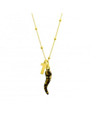 Collana personalizzabile a sfere alternate da 2,5 mm con corno e iniziale pendente in argento 925 sterling, placcato oro giallo