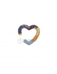Earcuff sagoma cuore con zirconi multicolor in argento 925 sterling, con placcatura in oro giallo.