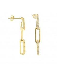 Orecchini con rettangoli pendenti con zirconi alternati in ottone, placcato oro giallo