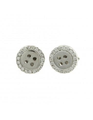 Orecchini a lobo a forma di bottone con giro di zirconi bianchi placcato oro bianco in argento 925