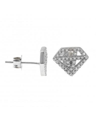 Orecchini a lobo placcati oro bianco diamante traforato con zirconi in argento 925
