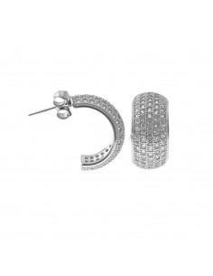 Orecchini mezzo cerchio placcati oro bianco con fascia a pavè di zirconi bianchi in argento 925