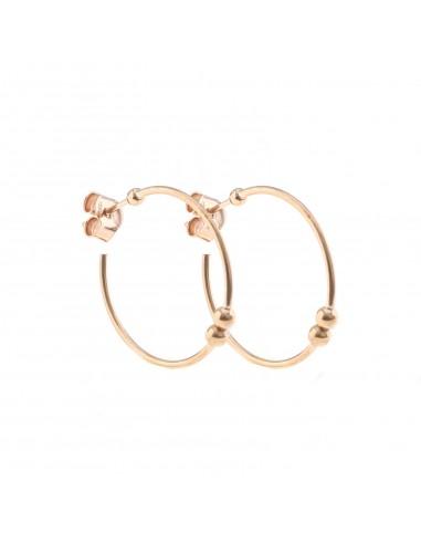 Orecchini a cerchio da ø 25 mm con chiusura a pressione in argento 925 sterling, placcato oro rosa