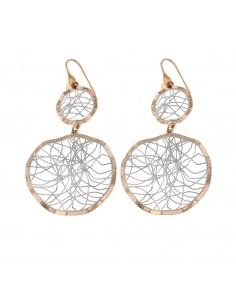 Orecchini pendenti traforati in argento 925 sterling placcato oro bianco e oro rosa