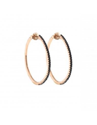 Orecchini con zirconi neri in argento 925 placcato oro rosa