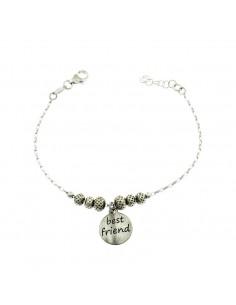 Bracciale a con sfere lavorate e charms best friends in argento brunito 925