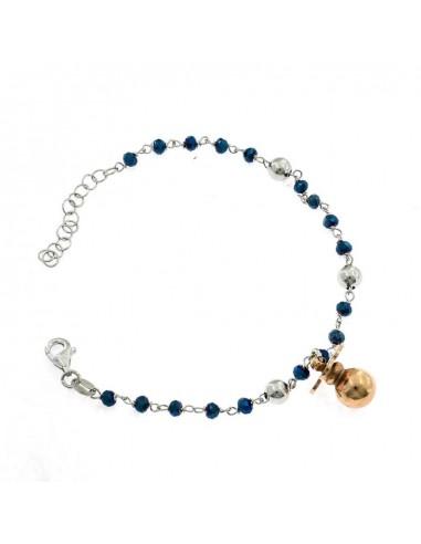 Bracciale con pietre faccettate blu placcato oro bianco e ciuccio pendente in placcato oro rosa in argento 925