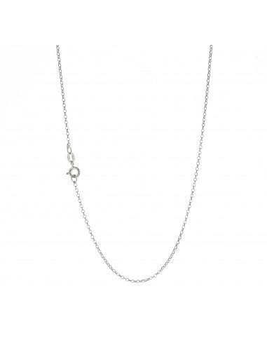 Catenina modello rolo diamantata in argento 925 placcato oro bianco