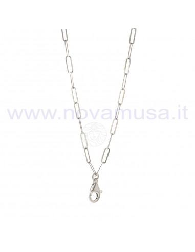 Collana maglie rettangolari con moschettone placcata oro in argento 925