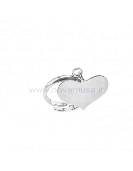 Anello regolabile con cuore a lastra pendente placcato oro bianco in argento 925