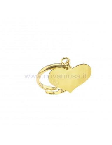 Anello regolabile con cuore a lastra pendente placcato oro giallo in argento 925
