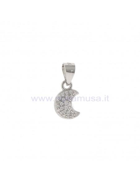 Ciondolo luna a pavè di zirconi bianchi placcato oro bianco in argento 925