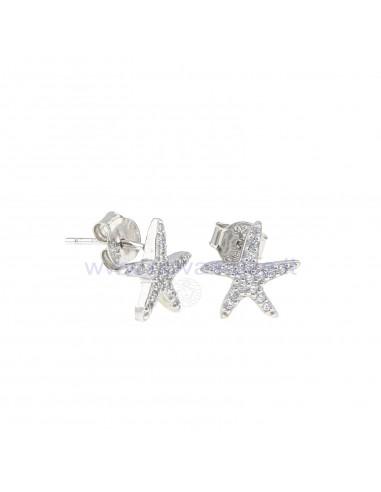 Orecchini al lobo stella marina a pavè di zirconi bianchi in argento 925 rodiato