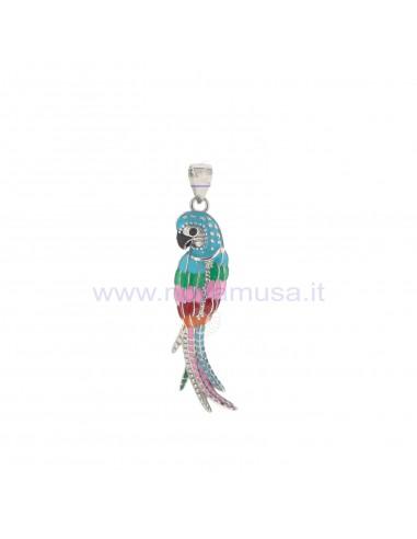 Ciondolo pappagallo multicolor in argento 925 placcato oro bianco