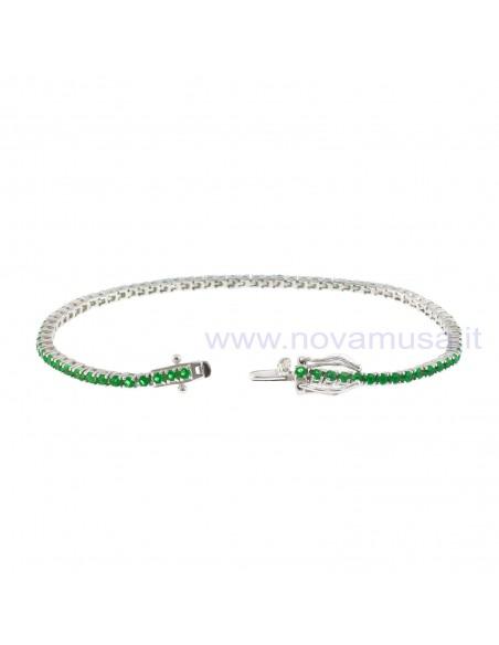 Bracciale tennis placcato oro bianco con zirconi verdi da 2 mm in argento 925