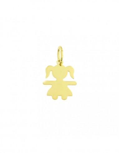 Ciondolo bimba a lastra in argento 925 placcato oro giallo
