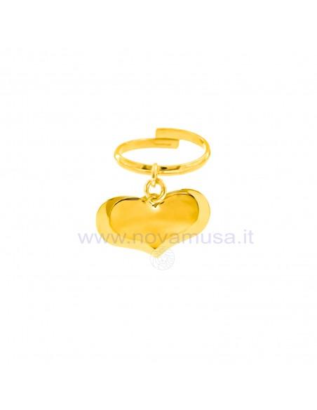 Anello con 2 cuori pendenti personalizzabile in argento 925 placcato oro giallo