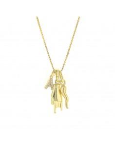 Collana con corno iniziale con zirconi e mano pendenti in argento 925