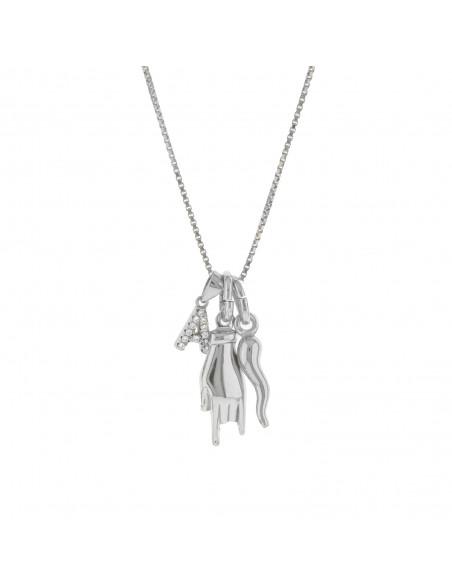 Collana con corno iniziale con zirconi e mano con corna pendenti in argento 925 placcato oro bianco