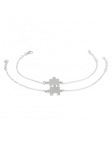 Bracciali maglia rolò diamantata con centrale divisibile a lastra tessere puzzle in argento 925 placcato oro bianco