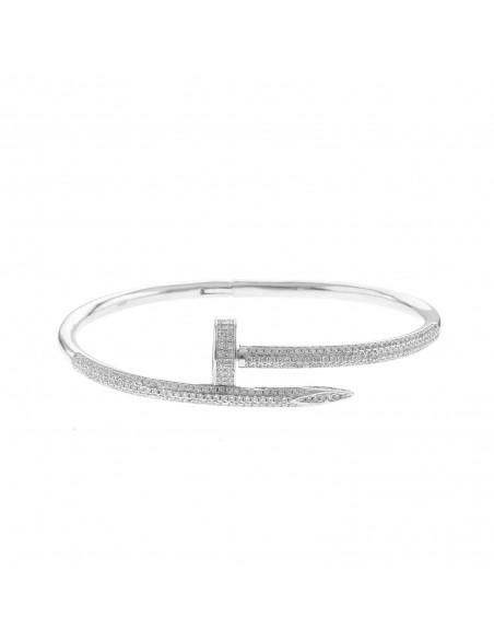 Bracciale chiodo con zirconi bianchi in argento 925 placcato oro bianco