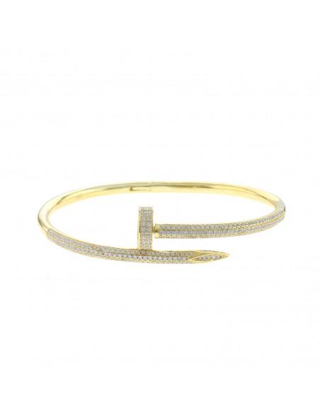 Bracciale chiodo con zirconi bianchi in argento 925 placcato oro giallo