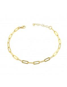 Bracciale maglia rettangolare in argento 925 placcato oro giallo