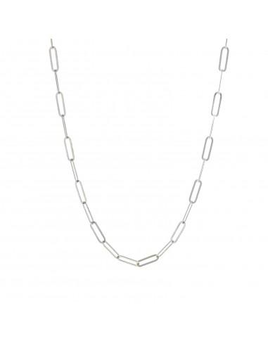 Collana maglia rettangolare in argento 925 placcato oro bianco