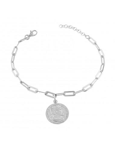 Bracciale maglia rettangolare con moneta pendente in argento 925 placcato oro bianco