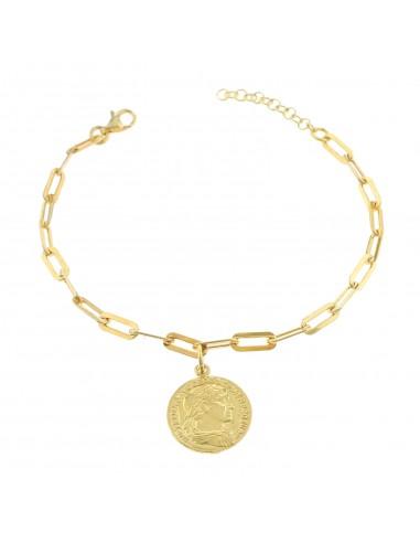 Bracciale maglia rettangolare con moneta pendente in argento 925 placcato oro giallo