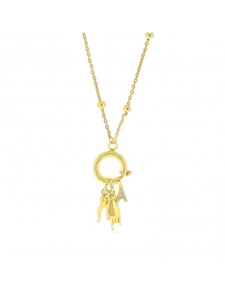 Collana con anello a molla centrale corna lettera e corno pendenti in argento 925 placcato oro giallo