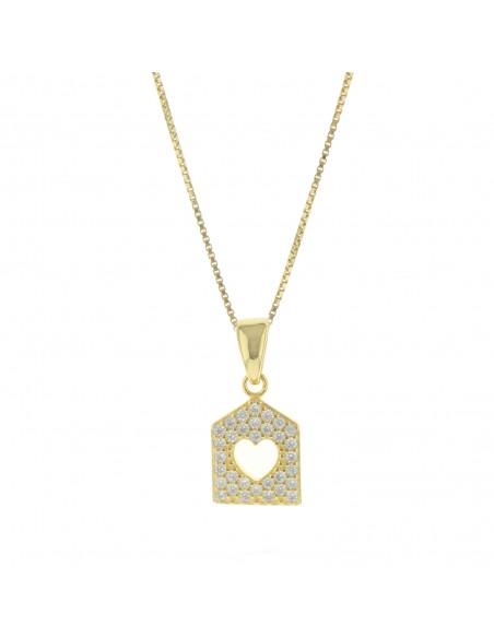 Collana con casetta zirconata pendente in argento 925 placcato oro giallo