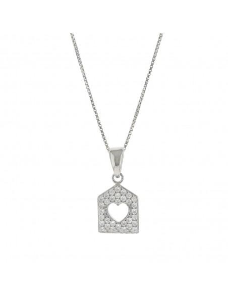 Collana con casetta zirconata pendente in argento 925 placcato oro bianco