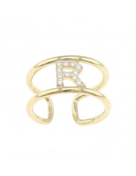 Anello doppio binario con lettera zirconata centrale in argento 925 placcato oro giallo