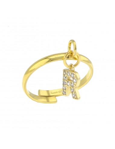 Anello con lettera zirconata pendente in argento 925 placcato oro