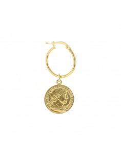Mono orecchino con moneta pendete in argento 925 placcato oro giallo