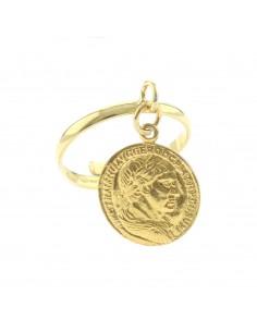 Anello con moneta pendente in argento 925 placcato oro