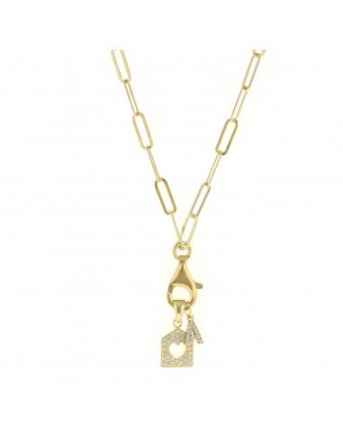Collana con moschettone personalizzabile con lettera e casetta zirconata in argento 925 sterling placcato oro giallo