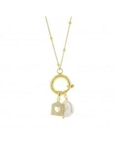 Collana con anello a molla perla e casetta zirconata in argento 925