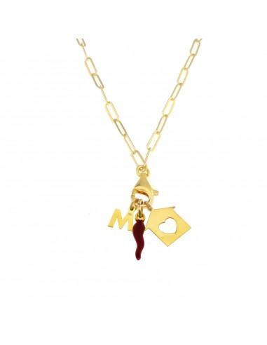 Collana con moschettone casa lettera e corno rosso in argento 925