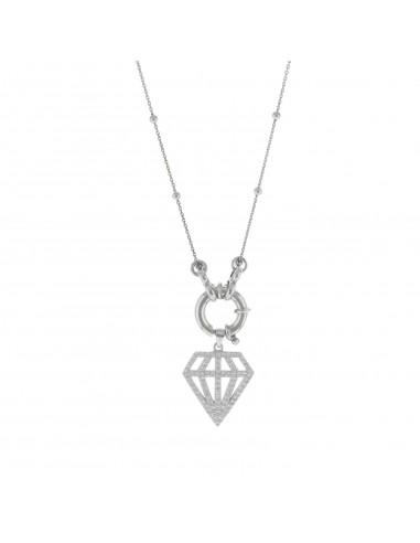 Collana con anello a molla e diamante pendente in argento 925