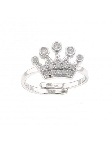 Anello regolabile con corona zirconata in argento 925 placcato oro bianco
