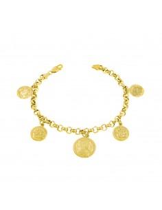 Bracciale con 5 monete pendenti in argento 925 placcato oro giallo