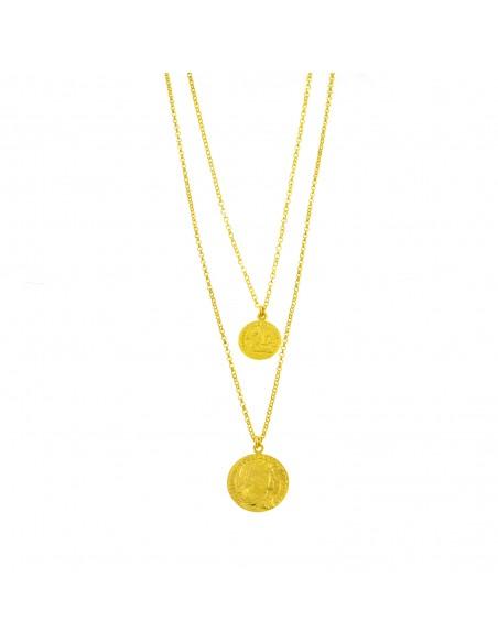 Collana a 2 fili con monete pendenti in argento 925 placcata oro giallo