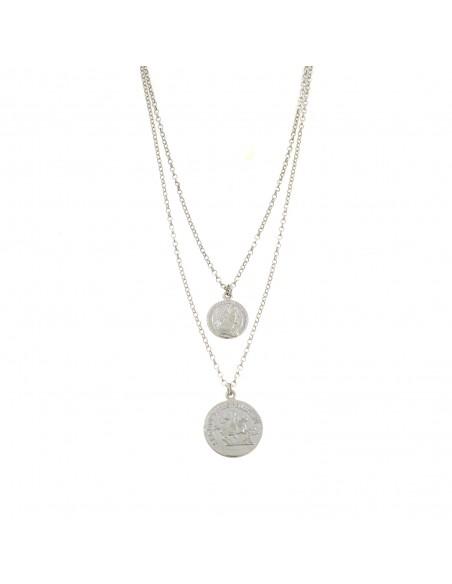 Collana a 2 fili con monete pendenti in argento 925 placcata oro bianco