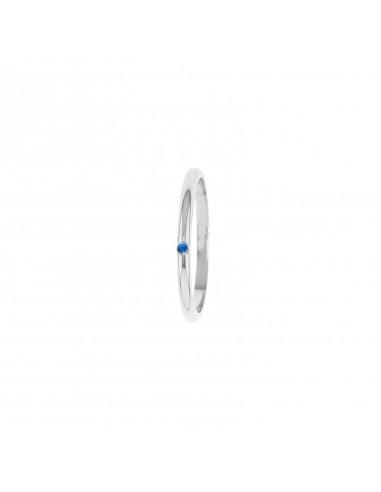 Fermanello con zircone blu in argento 925 placcato oro bianco