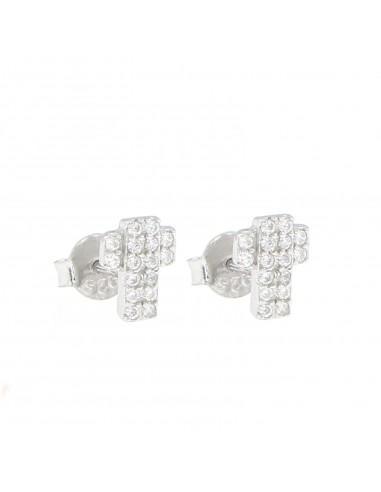 Orecchini con croce di zirconi bianchi in argento 925