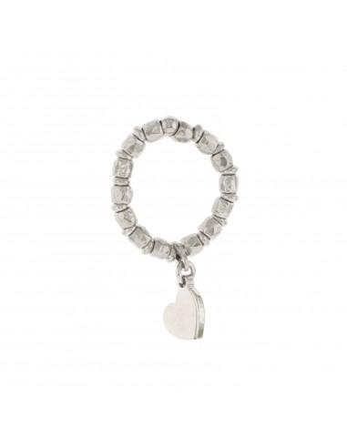 Anello elastico con pepite e cuore pendente in argento 925 placcato oro bianco